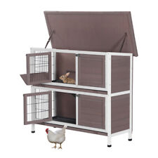 "48"" Two Floors Wooden Rabbit Hutch Bunny Cage Chicken Coop House Two Tiers"