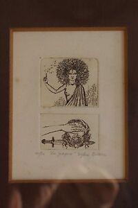 """Gravure originale de Sophie Busson numérotée 10/30 """"La Gorgone"""" petit tirage"""