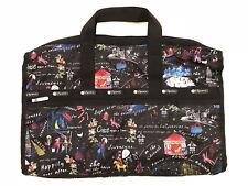 LeSportsac Wonderland Large Weekender Bag w Strap & Acc Bag NWT