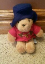 "Vintage Sears Paddington Bear Stuffed Animal Plush Red Toggle Coat & Blue Hat 8"""