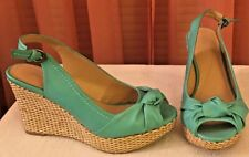 TURQUOISE  4 INCH PEEP-TOE PLATFORM HEELS SHOES BY APT. 9 - SIZE 7M - WORN ONCE