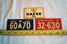 1953 Newfoundland & Ontario Canada License Plates & Old Italy Military Tiny Tag