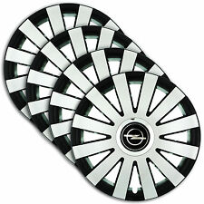 "Hub Caps 15"" OPEL Astra Vectra Corsa 4x Wheel Trim Cover SILVER+BLACK ONYX"