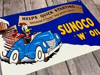 "VINTAGE DONALD DUCK SUNOCO GAS & OIL ADVERTISING METAL SIGN 12"" DISNEY DISPLAY"