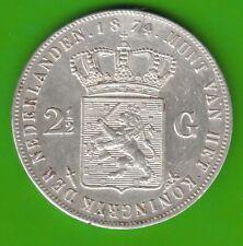 Niederlande 2 1/2 Gulden 1874 Willem III fast vz leicht berieben nswleipzig
