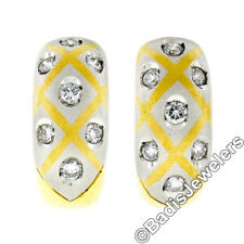 Estate 18k Gold & Platinum .70ctw Burnish Brilliant Diamond Huggie Hoop Earrings