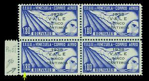 VENEZUELA 1938 AIRMAIL  5c/1,80b ultra Sc# C114 mint LH Blk 4 with PRINTING VAR.