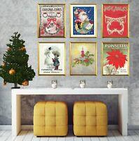 8x10 PRINT SET Vintage Christmas decorations Christmas art prints Christmas