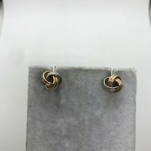 14k yellow rose white gold tri-color lucky knot earrings pink 3D stud estate