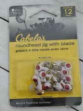 12 Packs cabelas RoundHead Jig with blade 1/8 oz. White (Av)