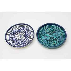 """Anthropologie Moroccan Inspired plate glazed Earthenware Pair Blue & White 6"""""""