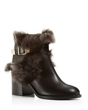 $2800 Jerome C. Rousseau WOMENS BLACK ITALY LEATHER FUR ANKLE BOOTS SHOES 38 8