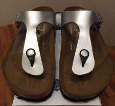 Birkenstock Gizeh 043851 size 39 L8M6 R Silver Birko-Flor Thong Sandals