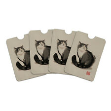 Cat Traditional Chinese Ink Painting Credit Card RFID Blocker Sleeves Set