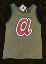 """Atlanta Braves NEW with TAGS Gray Tank Top - 1970s style """"a"""" Men's Large"""
