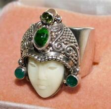 Vintage Carved Jade Buddha Ring 925 Sterling Silver Asian Size 6