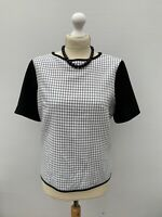 Women's Size 14 🖤 Lovely M&S Check Cream Mix Short Sleeve Top Blouse