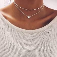 Damen doppel Halskette doppelt Kette silber gold Herz 2er Blogger kurz Statement