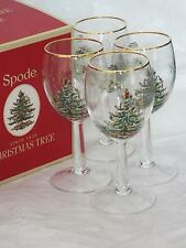 Lot de 4 Spode Christmas Tree Noël Verres à Vin Avec Gold Rim NEW & BOXED