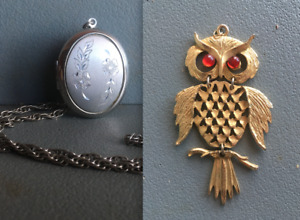 Antique silver locket and Owl pendant necklace jewelry vintage accessories