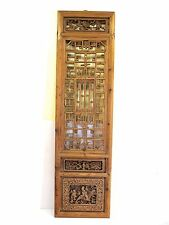 A Chinese Antique Wood Rectangle Window Shutter Qing Period w/ hook intricate