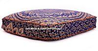 Indien Bleu Or Ombre Mandala Sol Oreiller Carré Ottomane Coussin Pouf Décor