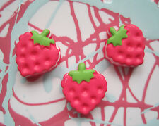 X 6 STRAWBERRY DOLL FOOD RESIN PAINTED CABOCHONS DECODEN DIY JEWELLERY FINDINGS