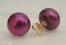 Pearl Earrings 14k #f1628! Genuine Natural 11mm Lavender