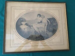 Old Art Deco Signed Cote Etching Ladies w/ French Dolls Boudoir in Icart Style