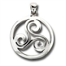 925 Sterling Silver Celtic Triple Spiral Triskele Pendant FREE Cable Chain