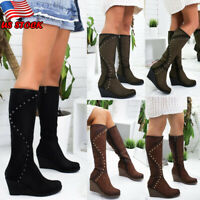 Womens Mid Calf Wedge Heel Boots Slouch Faux Suede Ladies Knee High Winter Shoes