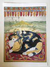 """PONCKLE FLETCHER 1934-2012 St Ives """"Cat by the Sea"""" PRINT"""