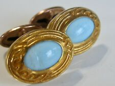 ANTIQUE VICTORIAN EDWARDIAN PIVOT LINK /  BEAN BACK GLASS CUFFLINKS FANCY FRAMES