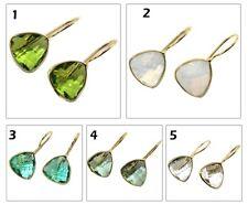 Trilian Topaz Quartz Opalite Hook Gold Plated Dangle Earring Gemstone Jewelry