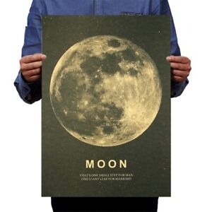 Moon Classic Poster Humans Kraft Paper Vintage Style Wall Sticker Home Bar Decor