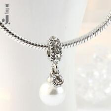 Genuine Sterling Silver 925 Luminous Elegance Pearl Charm European bracelets