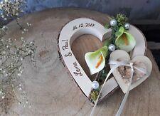 Ringkissen Herz Holzherz Calla grün Ringhalter für Eheringe mit Namen Hochzeit