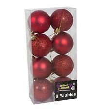 Christmas Tree Decoration 8 Pack 50mm Glitter / Plain Baubles Red  Colour Large