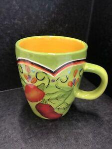 Retired Pier 1 Hand Painted Pasilla Coffee Tea  Mug Earthenware Green/Yellow/Red