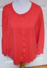 Talbots Woman 3/4 Sleeve Orange Pima Cotton Cardigan Sweater 2X
