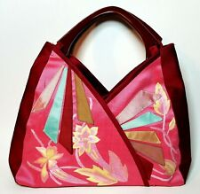 Arm Bag Purse Pink / Red / Cyan w/ Embroidered Flowers (Vietnam)