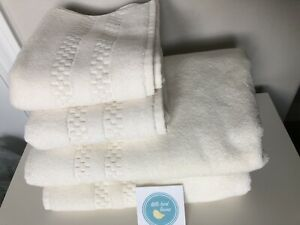 4 pc FRETTE CHECKERBOARD Towel Set IVORY  2 Bath & 2 Hand Brand new