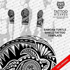 Samoan Maori Polynesian TURTLE SHIELD Tattoo Stencil Template