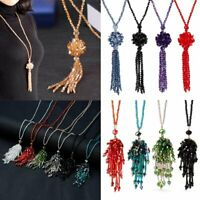 Fashion Crystal Beaded Tassel Pendant Necklace Long Sweater Chain Women Jewelry