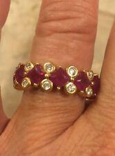 Eternity Ruby/round bezel set  diamond band- Dallas Prince 14k YG - 9 grams
