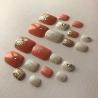 Hand Painted False TOE NAILS Press/Stick on Set of 20 Coral Orange White Summer