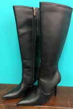 COLIN STUART Black Leather Tall Heel Boots / Womens Shoe Size 5.5 M