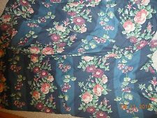 Laura Ashley Floral Stripe Navy Queen Sheet & Top Sheet Full/Twin? Fabric Roses!