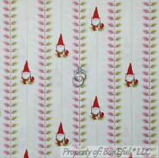 BonEful Fabric FQ Cotton Quilt Cream Red Pink Green GNOME Leaf Stripe Garden VTG