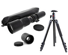 Pro Ball Head Tripod w/ 500-1000mm f/8 Telephoto Lens For Canon EOS Cameras